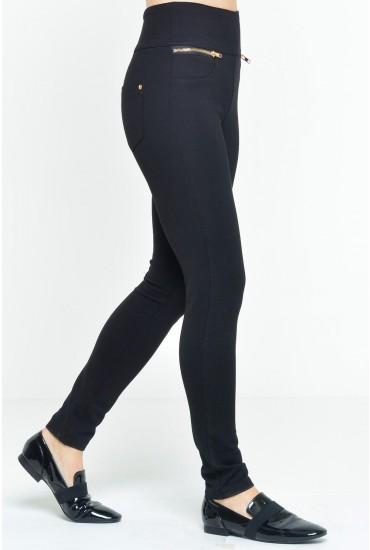 Wendy Zip Detail Trousers in Black