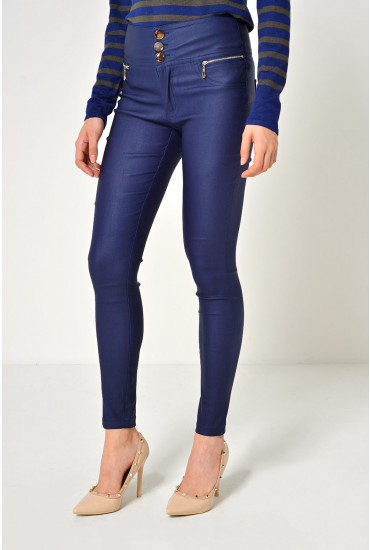 Margo High Waist Coated Trousers in Navy