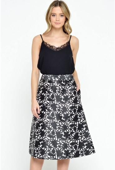 Tess A-Line Brocade Skirt in Black