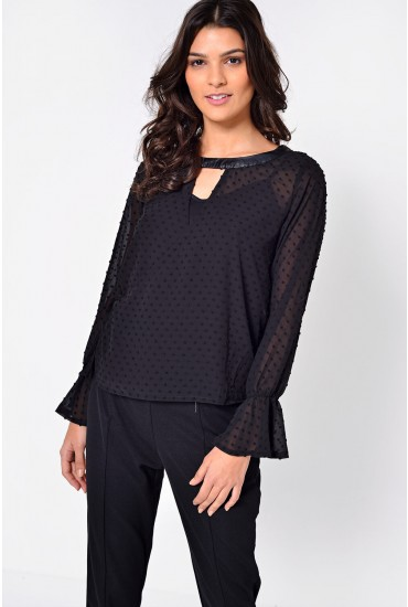 Sophia Dot Wrap Top in Black