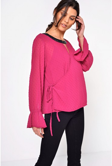 Sophia Dot Wrap Top in Plum