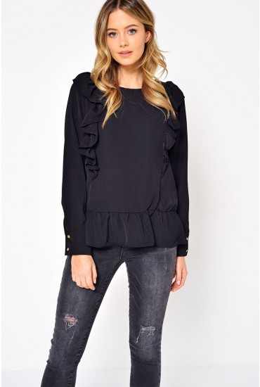 Katrina Ruffle Top in Black