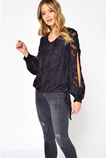 Rachel Split Sleeve Top in Black