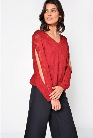 Rachel Split Sleeve Top in Burgundy
