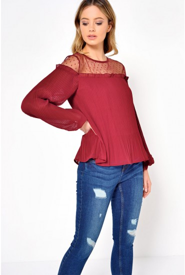 Cara Mesh Pleated Top in Wine
