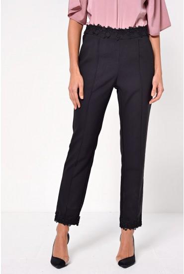 Tia Lace Trim Trousers in Black