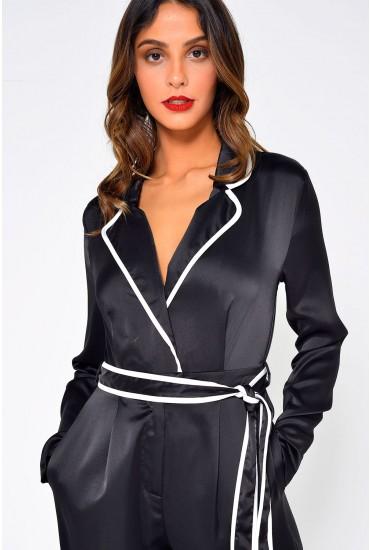 Kirsten Pyjama-Style Jumpsuit in Black