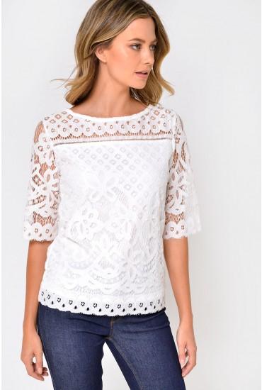 Sophia Crochet Top in Off White