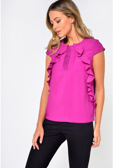 Tilly Pleat Front Top in Purple