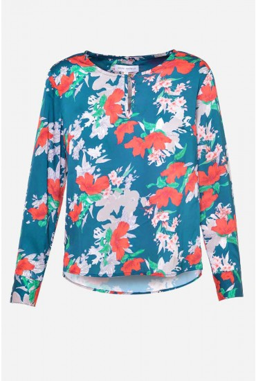 Poy Long Sleeve Floral Top in Teal