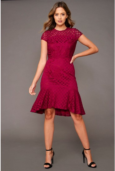 Alexa Cap Sleeve Lace Dress in Magenta