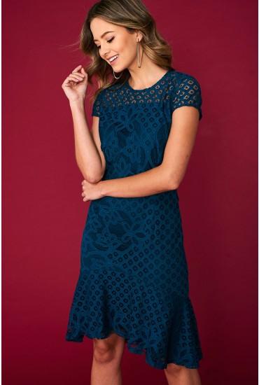 Alexa Cap Sleeve Lace Dress in Teal