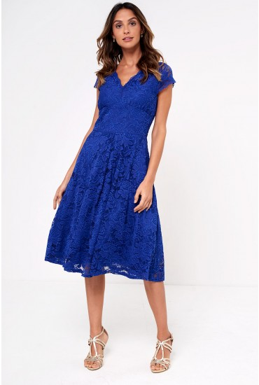 Samia Lace Midi Skater Dress in Royal Blue