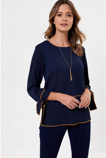 Thao Tie Sleeve Blouse in Navy