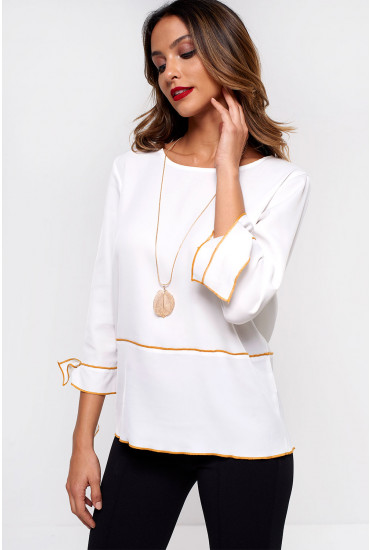 Thao Tie Sleeve Blouse in Off White