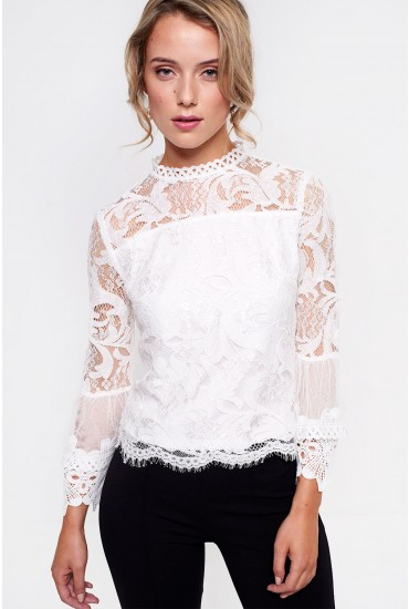 Andros Lace Top With Flared Cuff in White