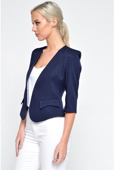 Kim Tailored Cropped Blazer in Navy