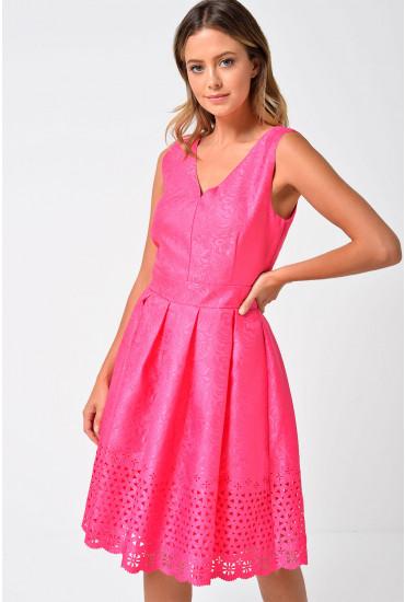 Ingrid Laser Cut Dress in Cerise