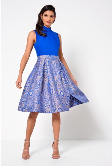 Sicily 2 in 1 Midi Dress with Jacquard Skirt Detail in Blue