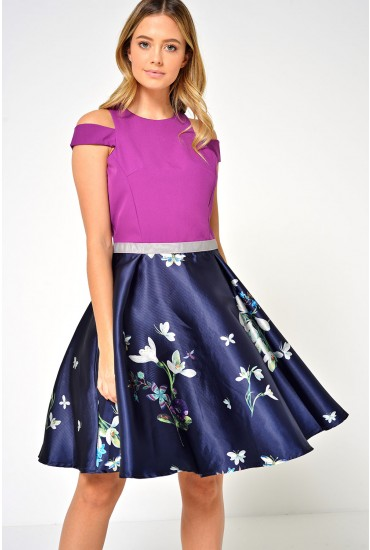 Clarabel Off Shoulder 2 in 1 Dress in Purple