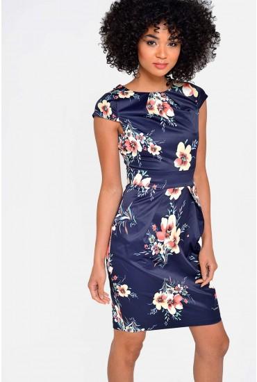 Lara Printed Tulip Dress in Navy