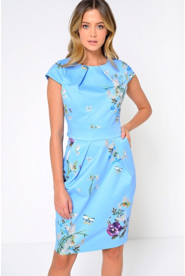 Celia Floral Tulip Dress in Sky Blue
