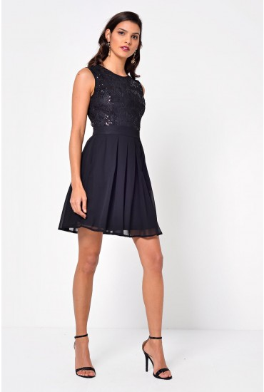 Tracy Sequin Bodice Dress in Black
