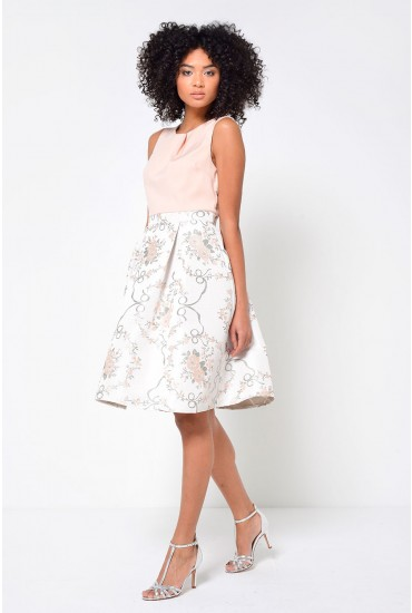 Lucy 2 in 1 Brocade Dress in Peach