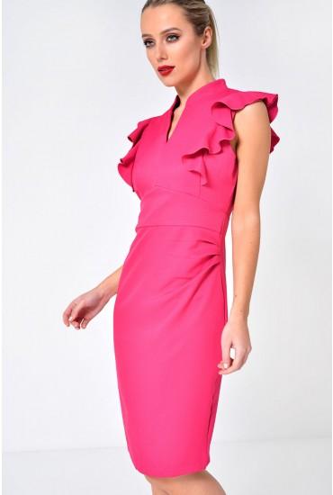 Alexander Frill Sleeve Midi Dress in Pink