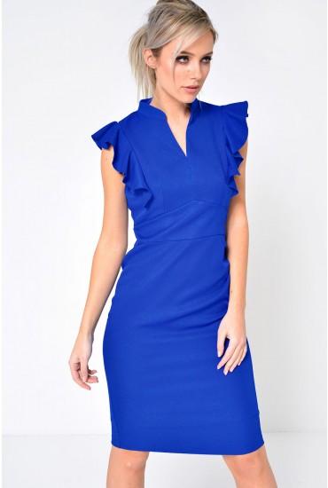 Alexander Frill Sleeve Midi Dress in Blue