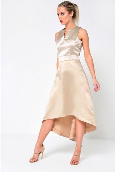 Olivia High Low Dress in Beige