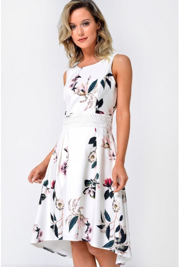 Maddie Floral Deep Hem Dress in Ivory