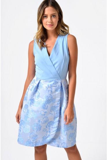 Teresa Cross Over Brocade Dress in Pale Blue