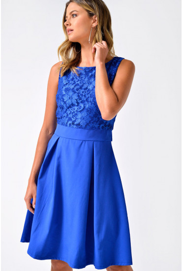 Pip Lace Top Skater Dress in Royal Blue