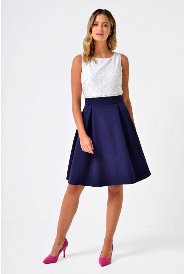 Pip Lace Top Skater Dress in Navy and White