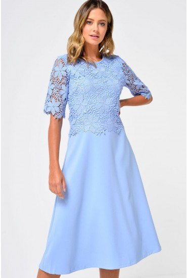 Venus Lace Overlay Dress in Pale Blue