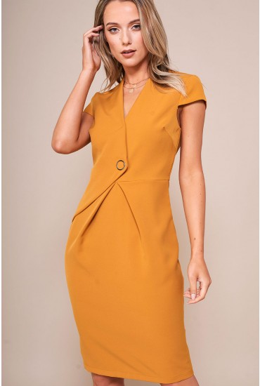 Reese Cap Sleeve Pencil Dress in Mustard