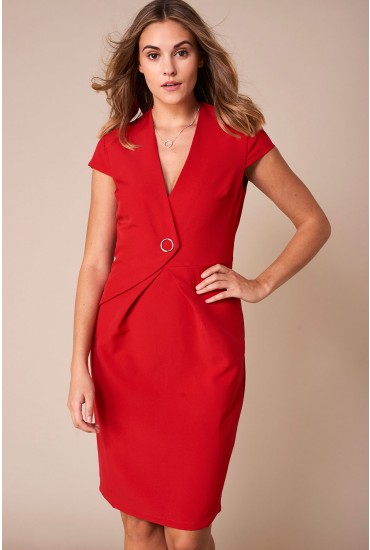 Reese Cap Sleeve Pencil Dress in Red