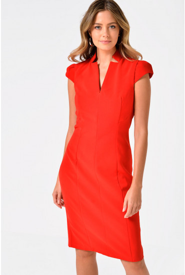 Dayo Cap Sleeve Midi Dress in Red