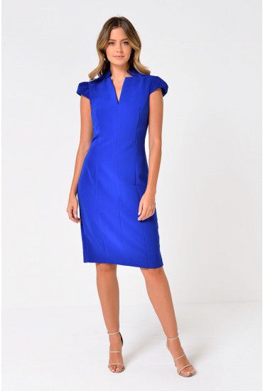 Dayo Cap Sleeve Midi Dress in Royal Blue