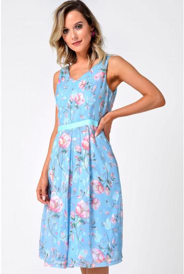 Jade Floral Dress in Light Blue