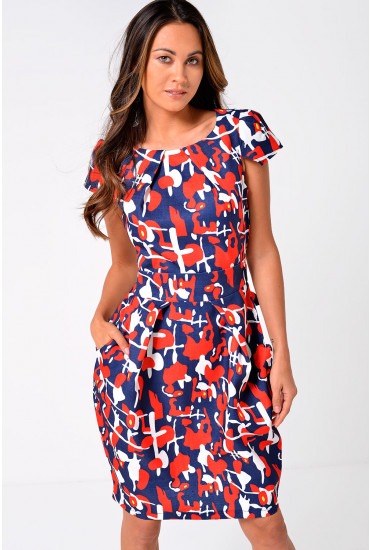 Cara Abstract Print Tulip Dress in Red