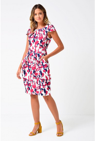 Cara Abstract Print Tulip Dress in White