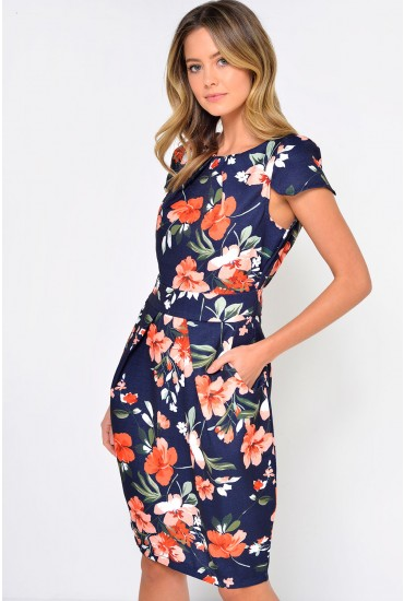 Cailin Woven Floral Tulip Dress in Navy