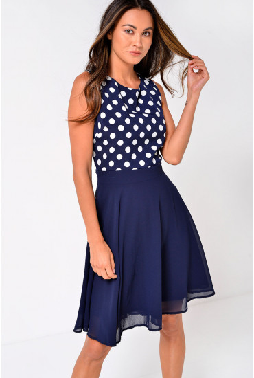 Lucille Polka Dot Skater Dress in Navy