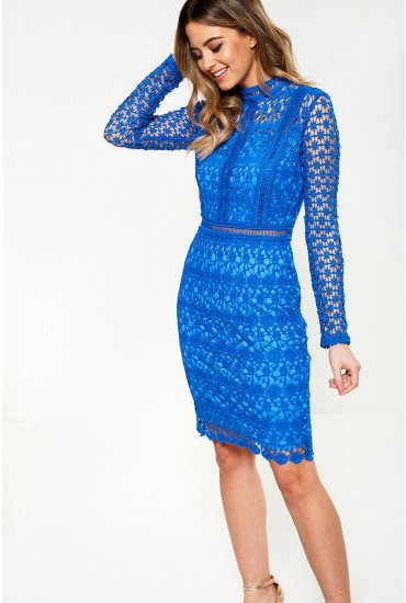 Giuliana Long Sleeve Lace Dress in Blue