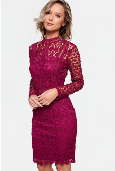Aureta High Neck Lace Pencil Dress in Magenta
