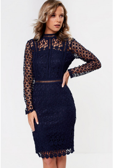 Aureta High Neck Lace Pencil Dress in Navy