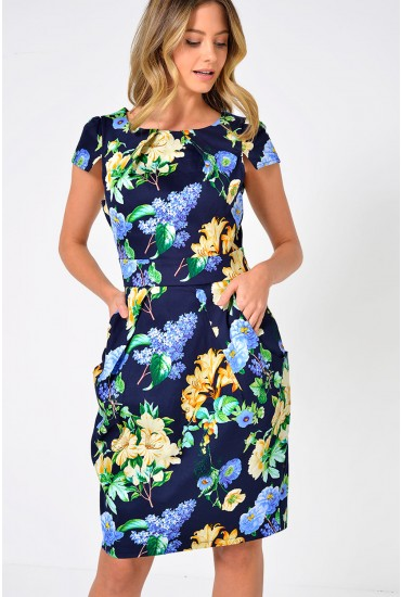 Polly Floral Printed Tulip Dress in Navy
