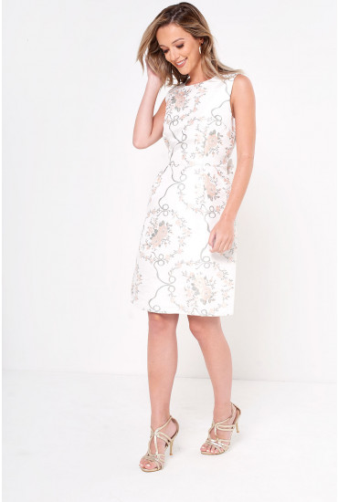 Sia Brocade Dress in Grey